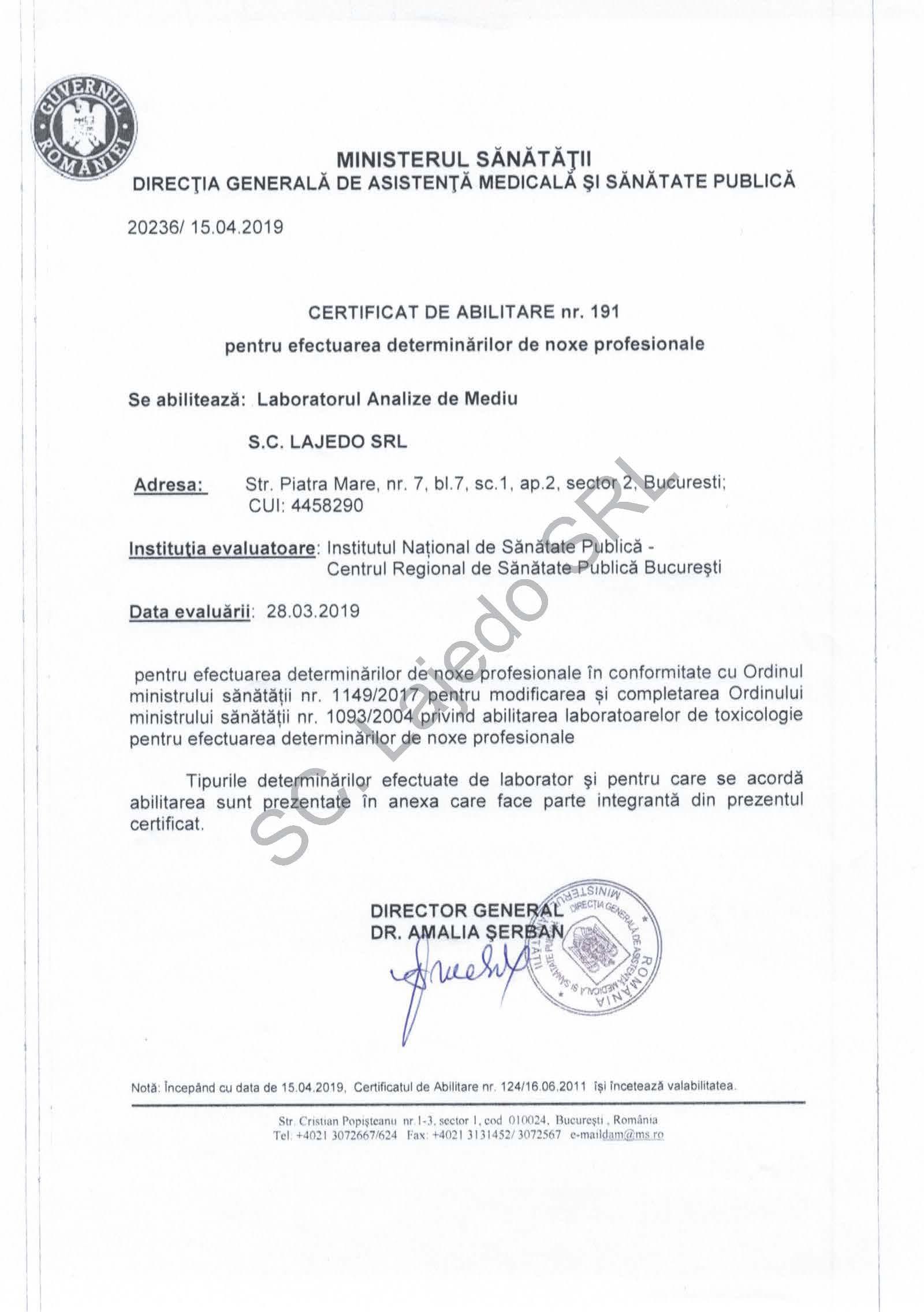 Certificat abilitare Noxe Profesionale