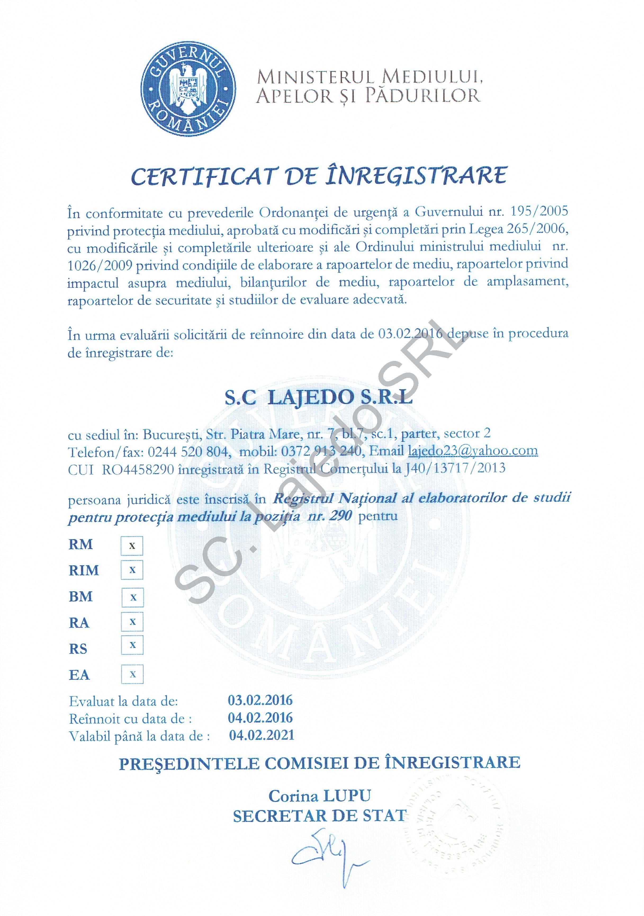 Certificat inregistrare Ministerul Mediului