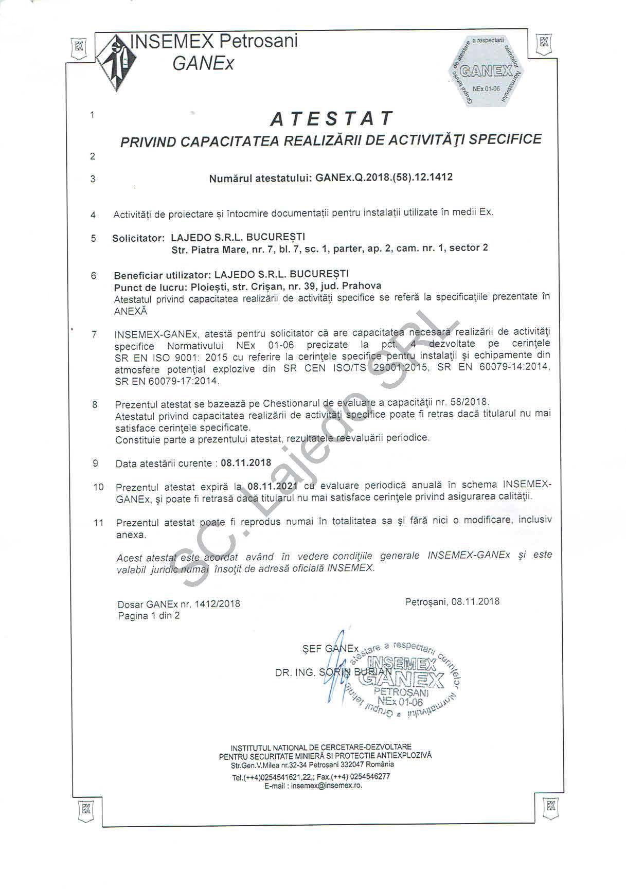 Atestat INSEMEX-GANEx