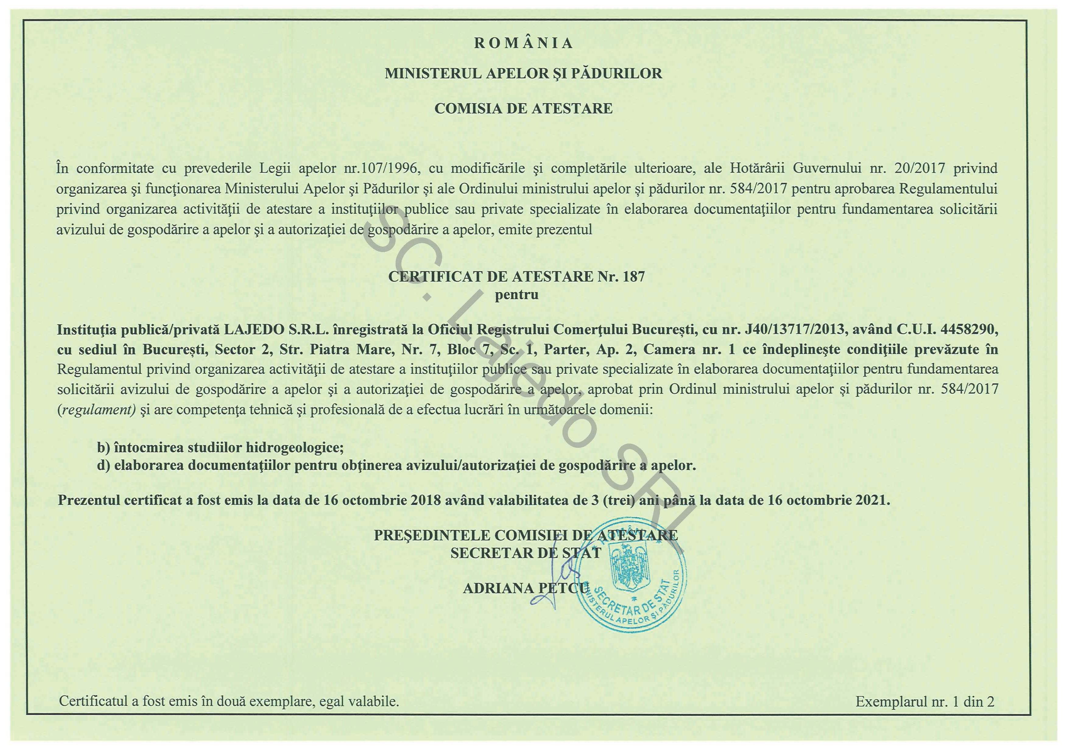 Certificat Ministerul Apelor si Padurilor