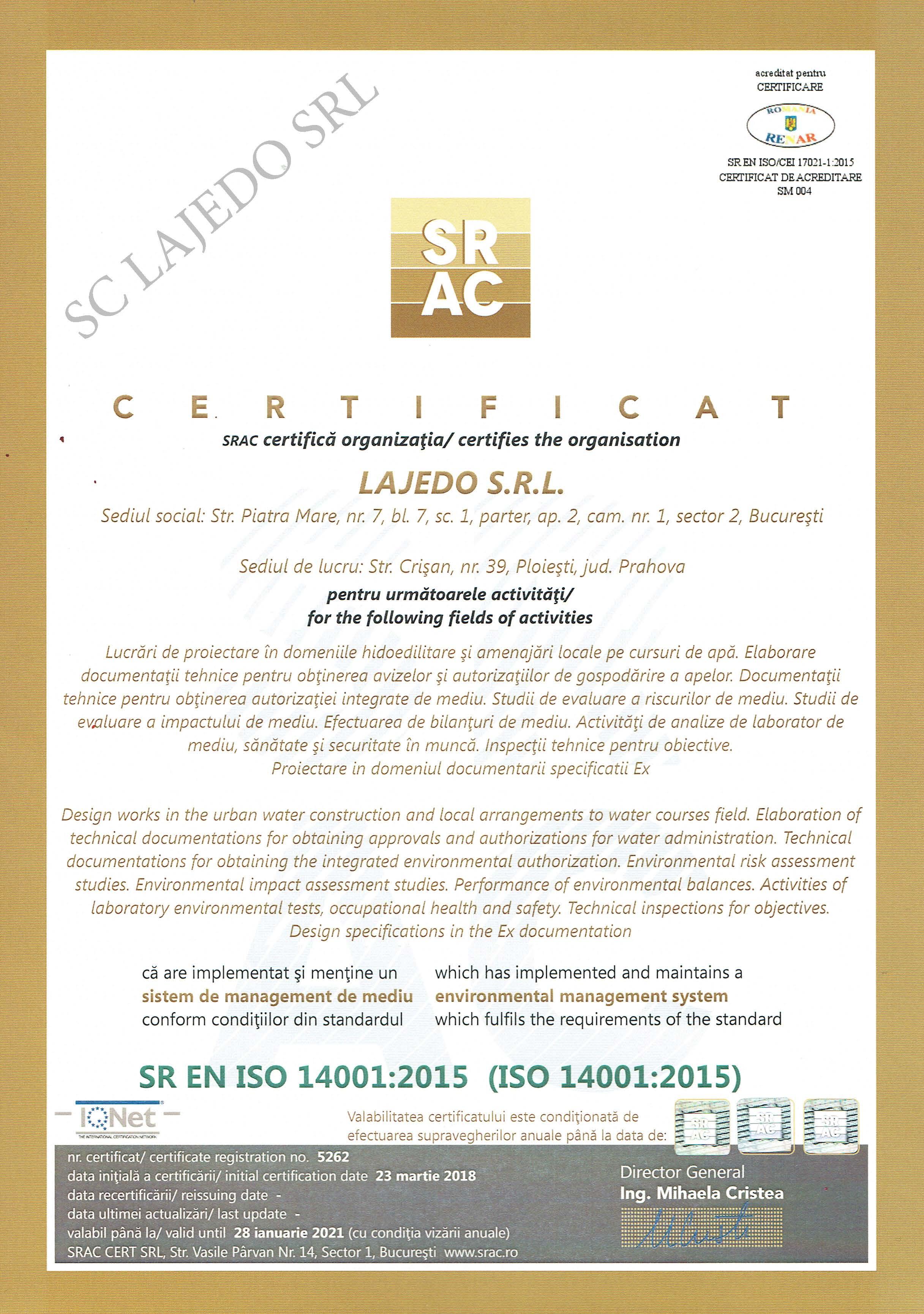 Certificat ISO140014
