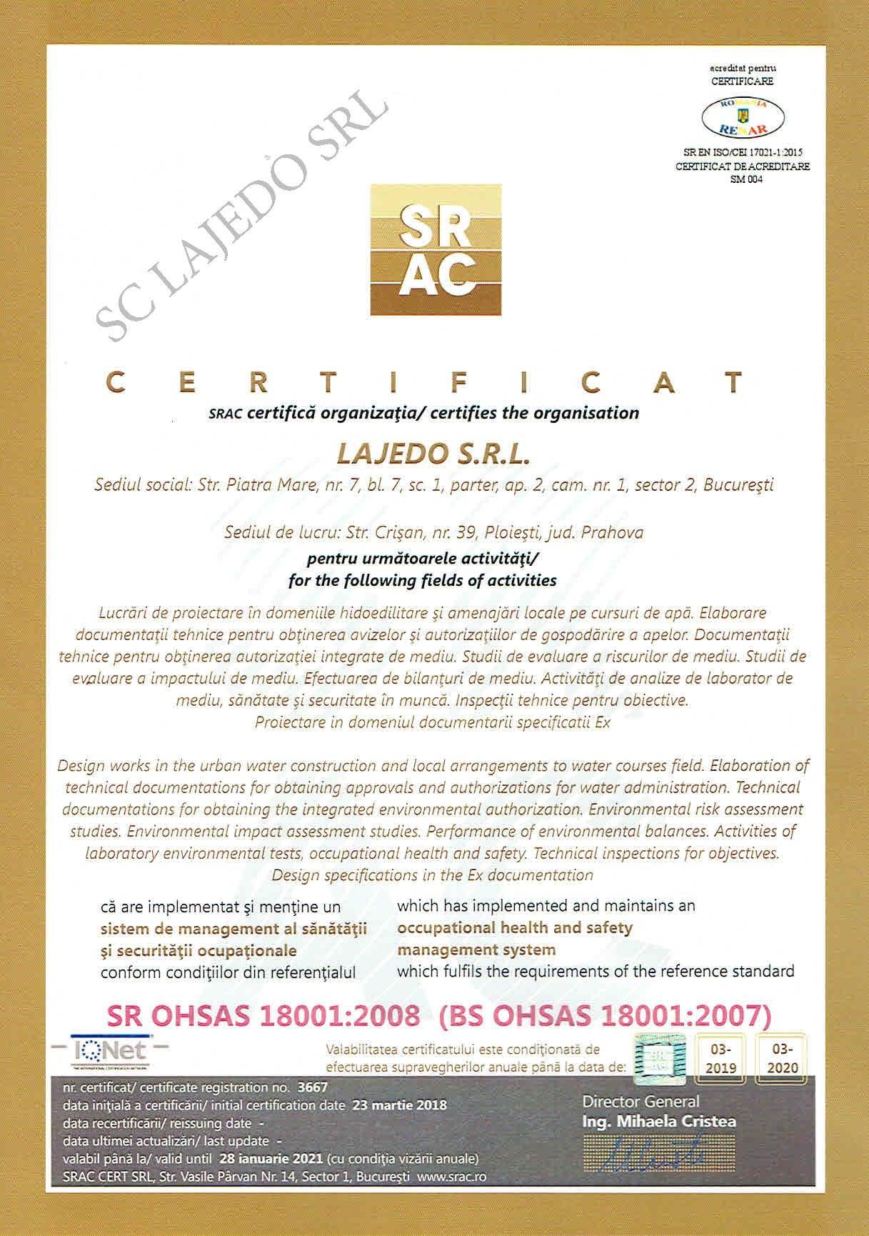 Certificat ISO-Q18001